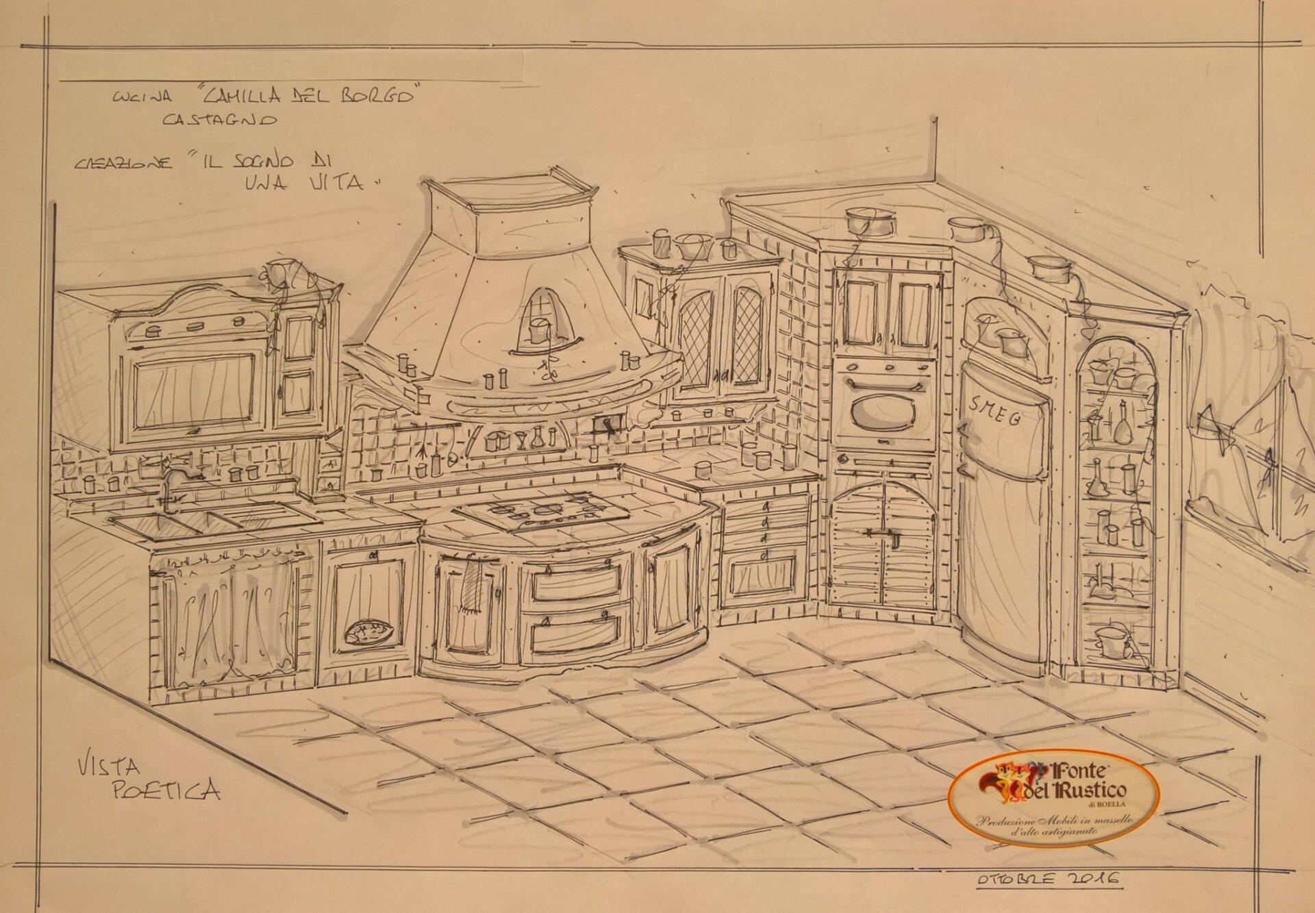 Cucina Rustica Camilla del Borgo disegno a mano libera