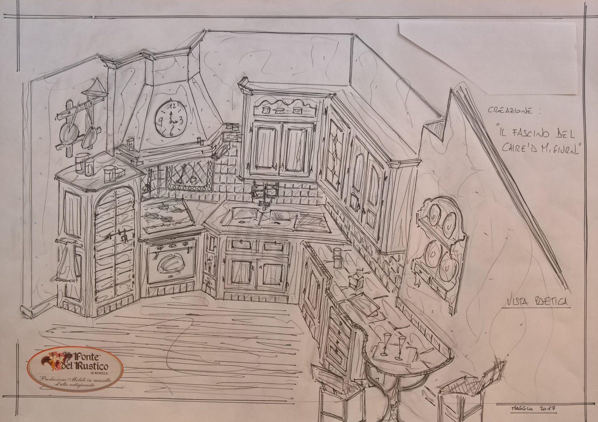 Cucine Rustiche: disegno a mano libera